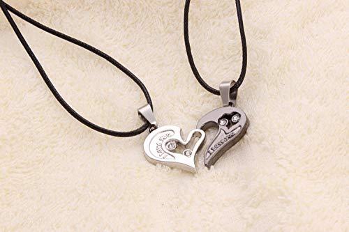 Paar Halskette herzförmige Diamant Anhänger einfache Joker Unisex Halskette@Schwarz und weiß (Weiß Diamant-halskette Schwarz)