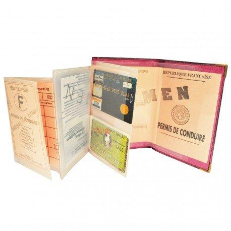 Charmoni–Schutzhülle Tür Führerschein die Kreditkarte grau Leder NEU Priamos) Gr. one size, Rosa - Fuchsia