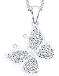 "Peora Silver & Rhodium Plated Cubic Zirconia Studded Pendant For Women -Silver With FREE 18"" Chain"