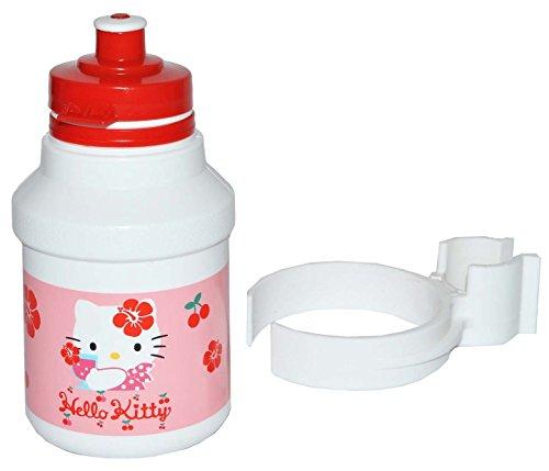 Preisvergleich Produktbild Unbekannt Fahrradtrinkflasche - Hello Kitty - mit Halterung - Halter für Kinder Fahrradflasche Fahrrad Trinkflasche Mädchen Katze Flaschenhalter Kunststoffflasche
