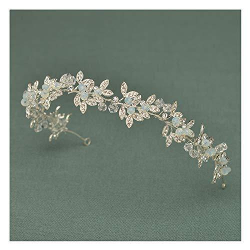 SWEETV Silber Haarschmuck Braut Hochzeit Blume Strass Stirnbänder Haarband Diadem Tiara Flectional (Perlen Mit Hochzeits-tiara)