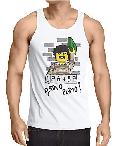 style3 Plata o Plomo Herren Tank Top Pablo bloque Kokain, Größe:M, Farbe:Schwarz -