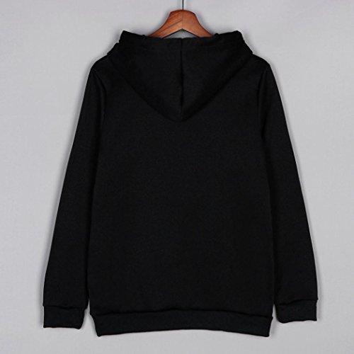 POachers Sweat à Capuche Noir à Manches Longues Cordon Sweat-Shirt Unicon Print Pull à Capuche Noir