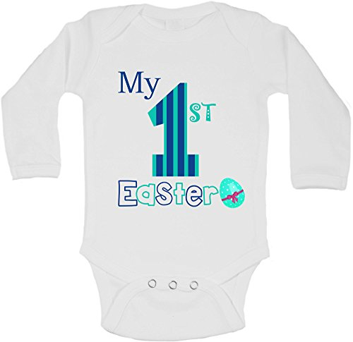 First easter gifts amazon my first easter personalized long sleeve baby vests bodysuits baby grows boys white 0 3 months negle Image collections