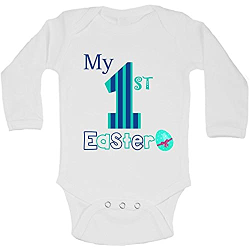 First easter gifts amazon my first easter personalized long sleeve baby vests bodysuits baby grows boys white 0 3 months negle Choice Image