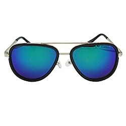 Archies UV Protected Clubmaster Unisex Sunglasses (Blue Frame)-SG-8907089180345