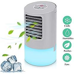 Mini climatiseur portable Air Cooler Climatiseur portable Mini Air Cooler Climatiseur Personnel Mini climatiseur pour chambre à coucher, humidificateur avec 2 minuteurs 3 vitesses 7 couleurs LED