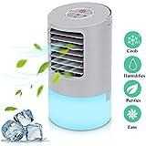 Mobile Klimaanlage Mini Luftkühler Air Cooler Klima Anlage Mini Air Verdunstungsgerät Persönliche Klimawürfel Mini klimageräte für zimmer, Luftbefeuchter mit 2 Timer 3 Geschwindigkeiten 7 Farben LED