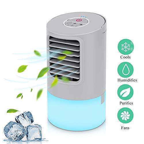 Mobile Klimaanlage Mini Luftkühler Air Cooler Klima Anlage Mini Air Verdunstungsgerät Persönliche Klimawürfel Mini klimageräte für zimmer, Luftbefeuchter mit 2 Timer 3 Geschwindigkeiten 7 Farben LED 46-in-1 Usb