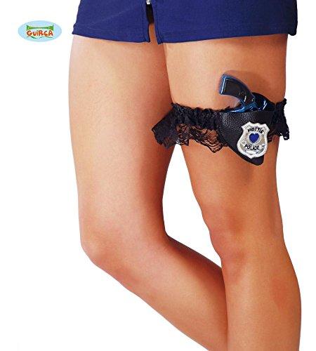 STRUMPFBAND - HOT POLICE - mit Holster & Pistole, sexy Polizistin Junggesellinnenabschied Club (Girl Police Kostüme Hot)