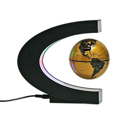 ConPush C-forma LED Globo Flotante Levitación magnética Terráqueos Globo Mapa del mundo (Oro)