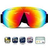 Wsobue, occhialini da Sci, Snowboard, Anti Appannamento, Protezione UV, Occhiali da Neve con Cinturino Antiscivolo, Compatibile per Uomini, Donne, Ragazzi e Ragazze, Revo Red