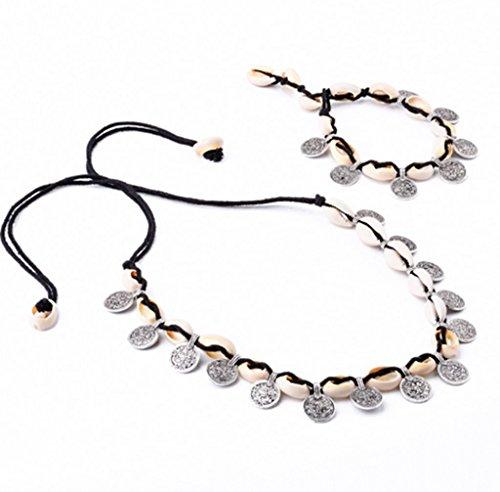 Ziwater Bracelet Collier Chaîne Velour Noir Pendante De Pièces De Monnaie Et Shell Femme Bijoux Bohème neckalce+bracelet