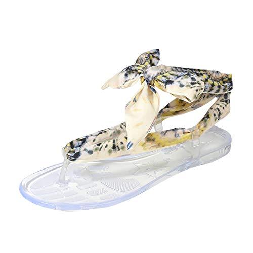 Gold Toe Outlet (Wawer_Damen Sandalen  Frauen Sommer Seide flachbesohlten runde Kappe Casual Sandalen Schuhe, Strand Hausschuhe Flacher Anti Rutsch Faule Schuhe)