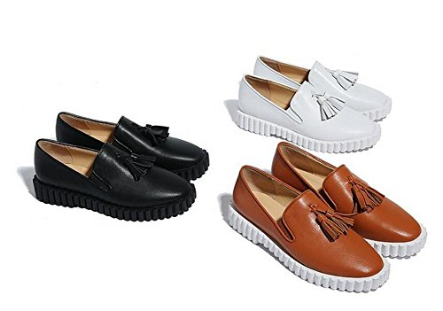 Beauqueen Style Round Gr枚脽e Quasten Europa Elegant Office Fashion Loafers Toe 39 Pumps chocolate 34 Sommer Schuhe Casual 2017 Fr眉hling Dekoration 4nrqO4