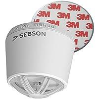 SEBSON Hitzemelder mit 10 Jahres Batterie, fest verbaute Lithium Langzeit-Batterie, mini Wärmemelder für Küche/Bad, Ø50x43,5mm, inkl. Magnetbefestigung