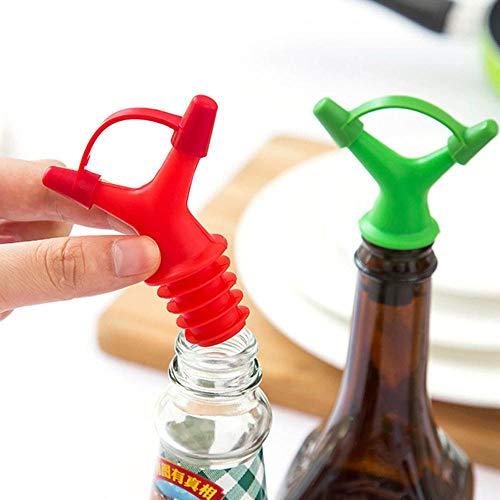 AOLVO Flaschenverschluss für Wein/Likörflaschen, Ausgießer für Olivenöl/Essig/Sojasauce/Sauce/Ausgießer/Ausgießer, BPA-frei, Doppelkopf-Silikon-Essigflaschen, 1 Stück zufällige Farbe