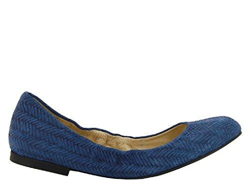 Castañer Ballerine Pelle Scamosciato Blu - Codice Modello: 5CAV5 874501 Blu medio