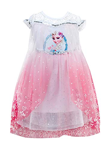 Qemsele Mädchen Prinzessin Kleid Cosplay Verrücktes Kleid Partei Kostüm Outfit für Fest Karneval Weihnachten Halloween Gefroren Prinzessin ELSA (120 fit für Höhe 110-120cm (43