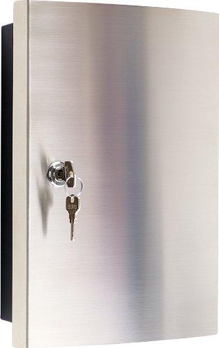 #Schlüsselkasten mit Edelstahlfronttür gebürstet/Haky Box/Key Box/Schlüsselbox / Schlüsselschrank für 12 Schlüsselanhänger (inkl.)#