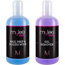 Mylee Toallita Prep & Wipe de Gel Limpiador de Uñas + Acetona Limpiadora y Removedora de Manicura UV LED de 250ml