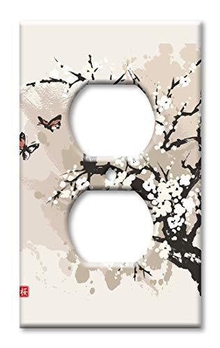 Wandplatte mit Kirschblüten und Schmetterlingen, Übergröße Steckdose Mehrfarbig -