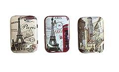 Idea Regalo - Ducomi® LovelyBox - Set di 3 Scatole in Latta con Coperchio Richiudibile e Disegno Vintage e dal Design Italiano - Contenitore per Tabacco, Pastiglie, Bigiotteria e Piccoli Oggetti - 8 x 5 x 2 cm (Countries)