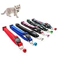 Nylon PU Leather Strip Pet Collar with Bell, Safe Durable Collars for Cats Kitty Puppy Pet Breakaway Collar Adjustable (6pcs/Set)
