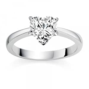 Diamond Manufacturers, Damen, Verlobungsring mit 0.34 Karat F/VS1 feinem und zertifiziertem Herzdiamant in 18k Weißgold