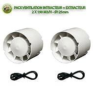 Vents - Set ventilazione, aspiratore per immissione + estrazione, 2 x 190 m3/h