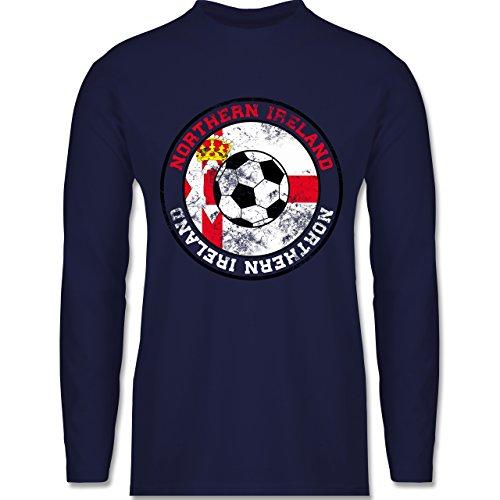 EM 2016 - Frankreich - Northern Ireland Kreis & Fußball Vintage - Longsleeve / langärmeliges T-Shirt für Herren Navy Blau