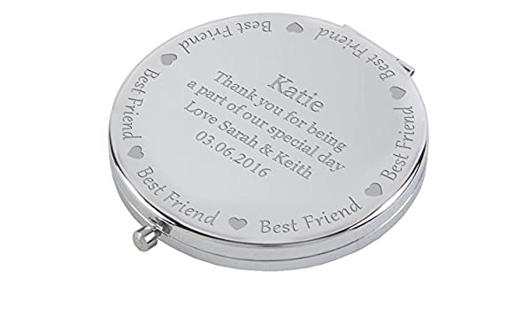67a36ec8296 Personalised Best Friend Wedding Compact Mirror Engraved Gift   Amazon.co.uk  Shoes   Bags