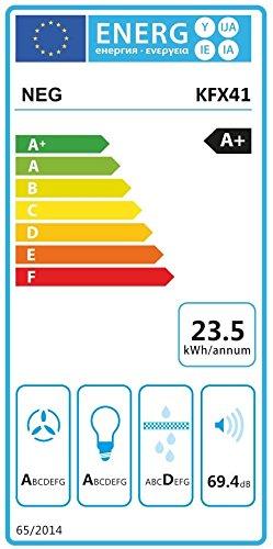 NEG Dunstabzugshaube KF641 (Abluft/Umluft) kopffrei mit LED-Beleuchtung, Randabsaugung, Glas schwarz, 60cm, sehr leise, Motorleistung 850m³/h - 2
