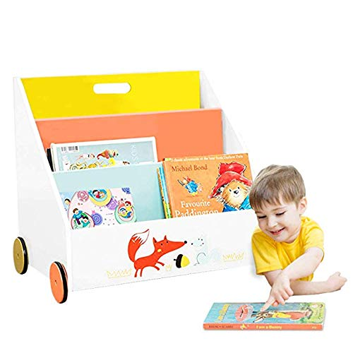 labebe - Bücherregal Kinder, Regal Kinderzimmer Holz, Bücherregal Weiß für Kinder 1-5 Jahre Alt, Buchregal Klein, Bücher Aufbewahrung, Hängefach Bücherregal/Kinder Bücherkiste/Standregal - mit Rädern - 3 Regal 5 Regal Bücherregal
