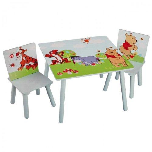Disney Winnie Pooh Tisch mit Stühlen 60x60cm Holz Kindersitzgruppe Kindersitzgarnitur NEU