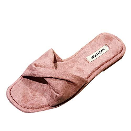 iLPM5 Damen Sommer Mode Lässig Wildleder Bogen Offene Spitze Flache Hausschuhe Strand Schuhe Atmungsaktive Flip-Flops Schuhe(Pink,39) (Wedge Print Booties Leopard)
