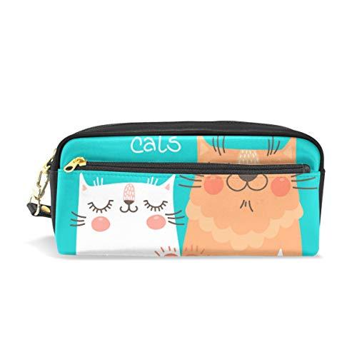 Ahomy Federmäppchen für Mädchen und Jungen, mit niedlichem Katzen-Motiv, für Schreibwaren, Make-up-Tasche, große Kapazität, wasserdicht für Frauen