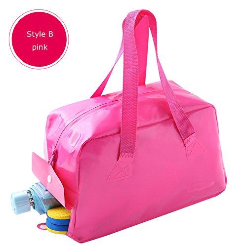 kirinstores Unisex Wasserdicht Schwimmen Tasche Wet Dry Scheiden Handtasche Tragbar Strand Tasche Multifunktional Aufbewahrung Organizer, B Pink (Herren Wet Badeanzug-tasche)