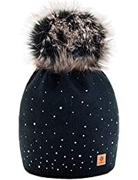 Winter Cappello Cristallo Più Grande Pelliccia Pom Pom invernale di lana  Berretto Delle Signore Delle Donne 8666fd39ce27