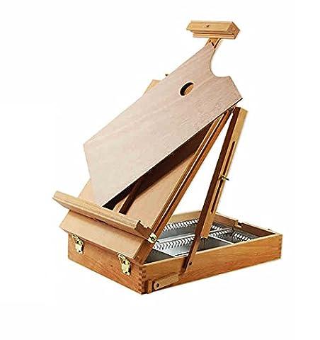 Chevalets Caisse de croquis pliante Boîte de peinture à l'huile Boîte d'écriture portable Boîte fine en bois Hêtre pliante multifonction chevalet peinture