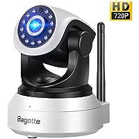 Telecamera di Sorveglianza,Bagotte IP Camera 720P Wifi P2P Pan/Tilt Videocamera di Sicurezza con Sensore di Movimento,Visione Notturna,Microfono e Altoparlante Per Casa/Baby Monitor (Nero)