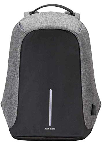 Best anti theft backpack in India 2020 Krishyam Anti Theft Waterproof Business Travel Laptop Bag with USB Cable and Built in Charging Port for College and Office Work Image 8