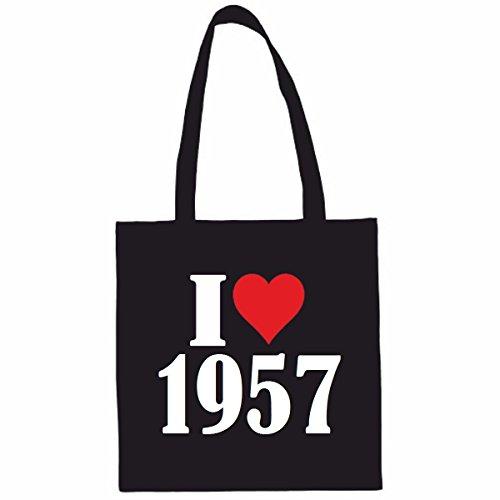 Sac à Bandoulière I Love 1957 Shopping Bag Sac d'école Sac de Sport 38x 42cm en Noir ou Blanc.. Le cadeau parfait pour votre amoureux
