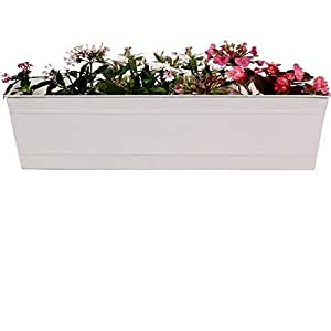 Trust Basket Rectangular Railing Planter - Ivory (23 Inch)