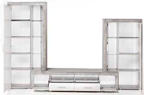 6.6.5.7.2957: Serie AWBW – made in BRD – schöne Anbauwand weiss-grau gescheckt dekor – Wohnzimmerschrank – TV-Wohnwand weiss-grau gescheckt dekor – Wohnschrank - 2