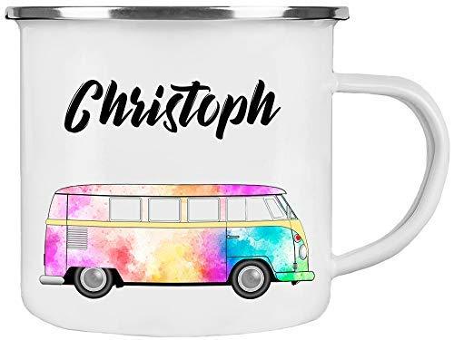 Cadouri Camping Emaille Tasse Kaffeetasse Campingbecher Outdoortasse (Motiv VW-Bus) ❤︎ personalisiert ❤︎ mit Wunschname - 300 ml