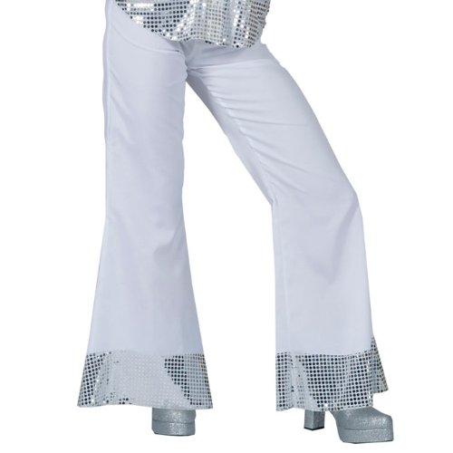 Weiße Disco Hose mit Pailletten für Damen (Taille Pailletten-gürtel In Elastischer Der)