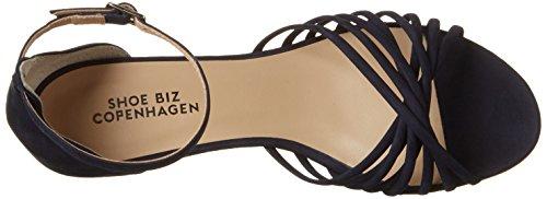 Shoe Biz Wedge, Sandales Compensées Femme Bleu (Nubuk Navy)