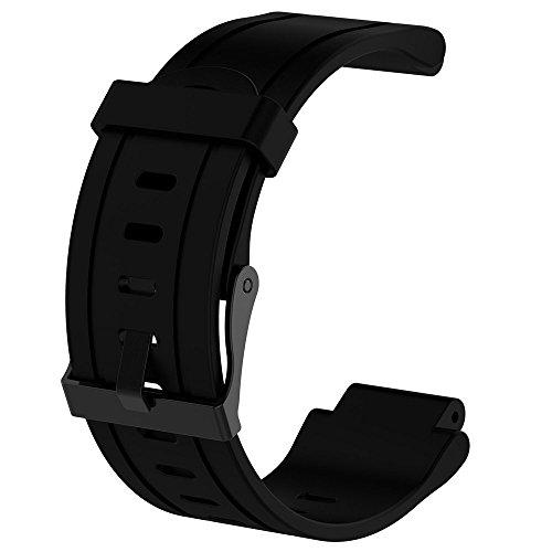 Omiky® Silikon Ersatz Armband + Gehäuseabdeckung für Garmin Forerunner 225 Justierbares Ersatz Bügel Armband Ersatzarmband (Schwarz) (Billig Metall-stollen,)