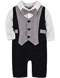 ZOEREA neonati bambini Gentleman infantile Vola tutine complessivi Estate abiti di cotone a righe manica corta pagliaccetto ragazzi stampa battesimo abito da sposa del bambino